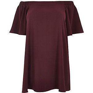 Plus burgundy bardot swing dress