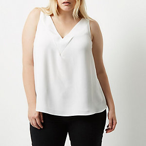 Plus cream T-bar cami top