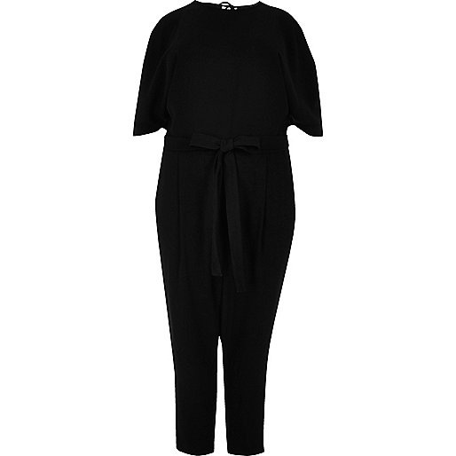 Plus black cold shoulder jumpsuit