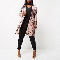 Manteau long Plus à fleurs rose