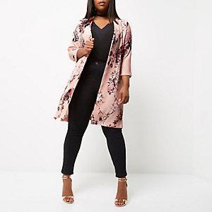 RI Plus - roze dusterjas met bloemenprint