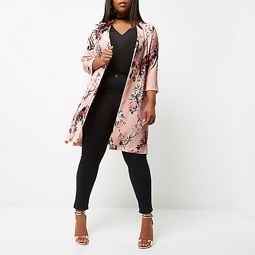 Plus pink floral print duster coat