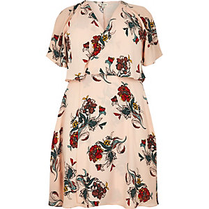 Plus pink floral print frill midi dress