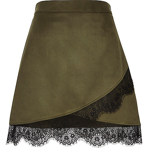 Khaki faux suede lace hem mini skirt