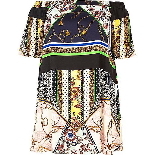 Robe trapèze Plus imprimée blanche style bardot