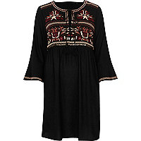 Black embroidered swing dress