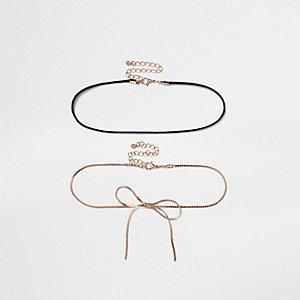 Ensemble collier ras du cou chaîne couleur or rose et cordon noir