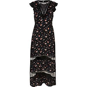 Black print lace panel maxi dress
