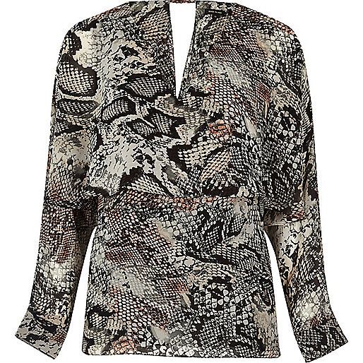 Dark snake print angel cape top