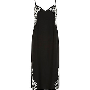 Black floral embroidered slip dress