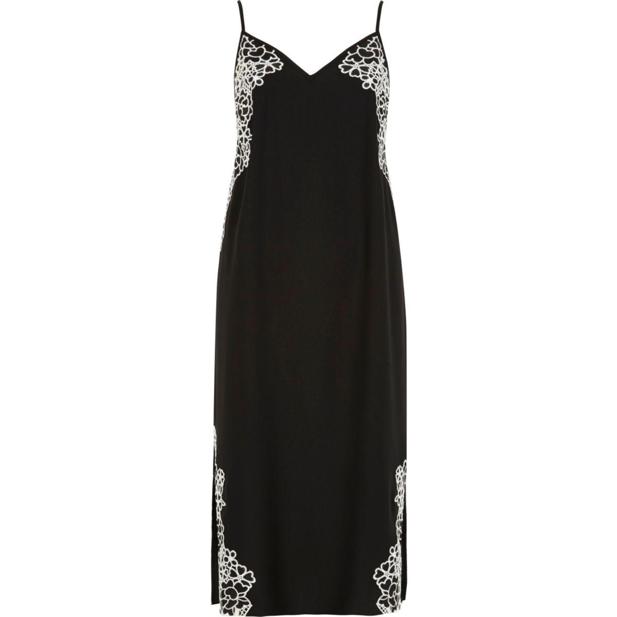 Black floral embroidered slip dress