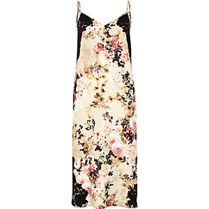Beige floral print slip dress