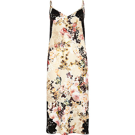 Beige floral print slip dress