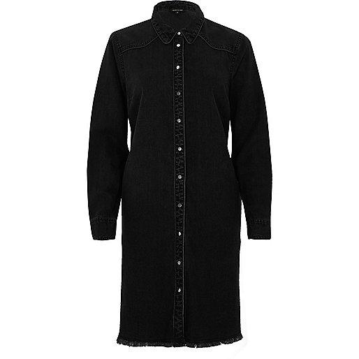 Robe chemise mi-longue en jean noire