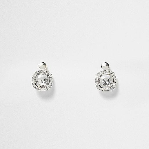 White silver tone crystal drop earrings