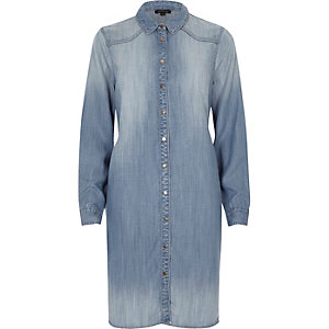 Light blue denim midi shirt dress
