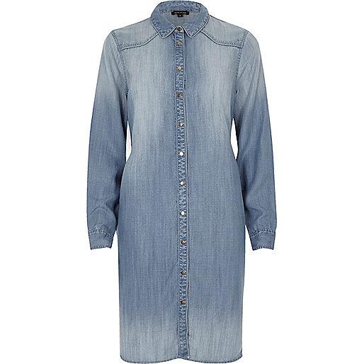 Light blue denim midi shirt dress