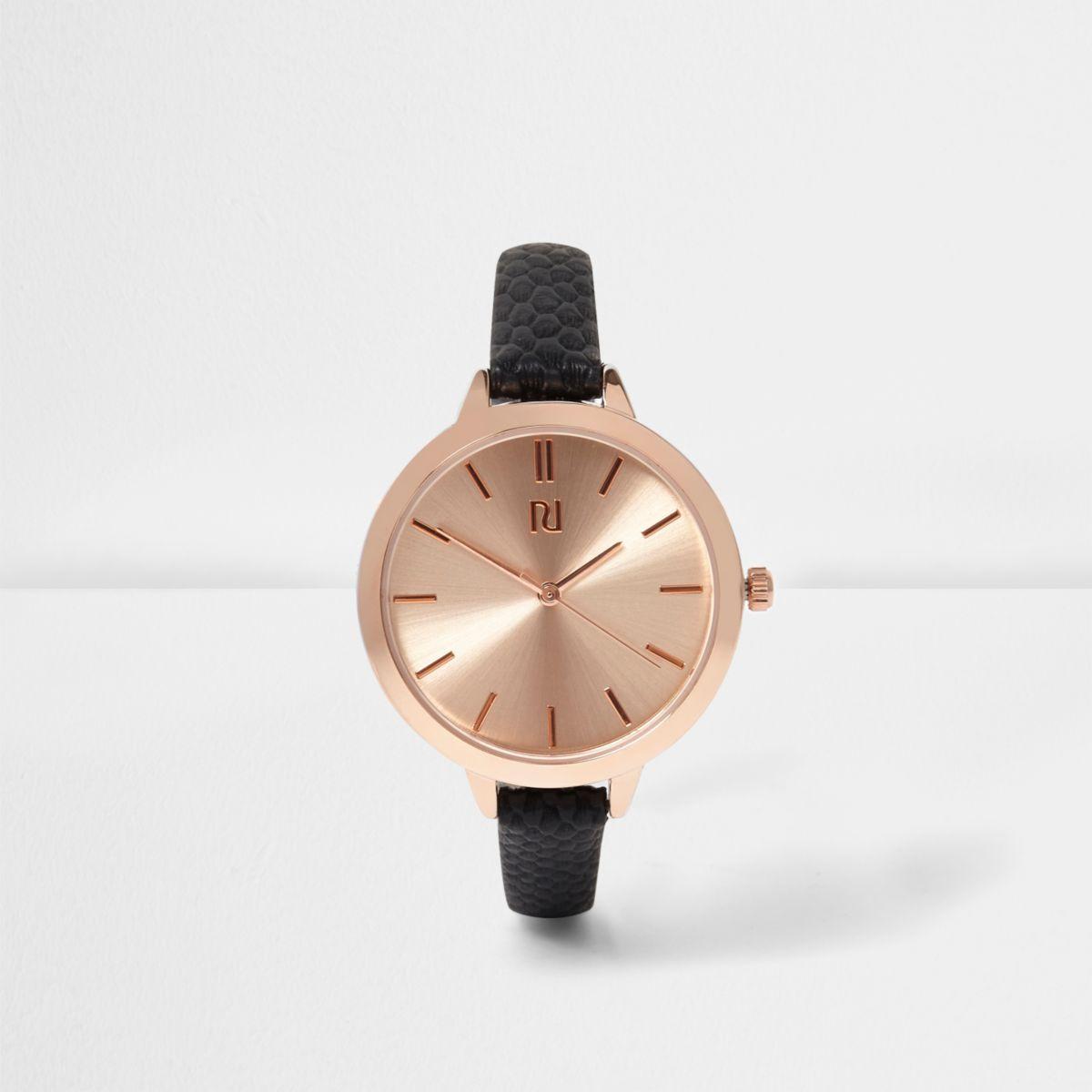 schwarze schmale armbanduhr in ros gold armbanduhren. Black Bedroom Furniture Sets. Home Design Ideas