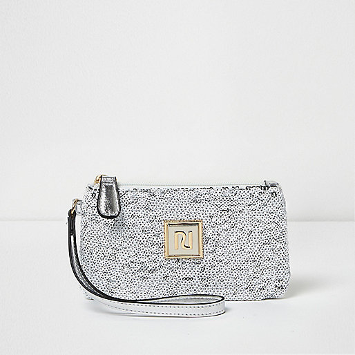 White and silver sequin mini pouch purse