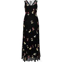 Zwarte geborduurde maxi-jurk met bloemen