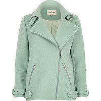 Light green soft aviator coat