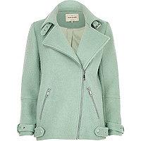 Manteau aviateur vert clair doux