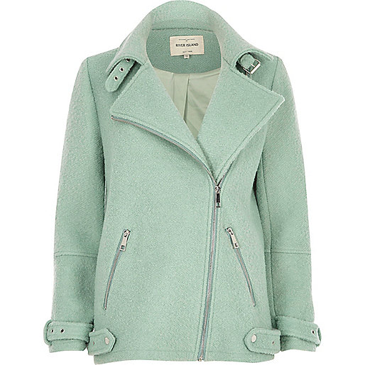 Light green soft aviator coat