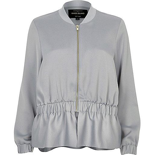 Light grey peplum bomber jacket