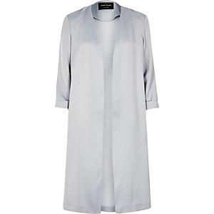 Light grey satin duster coat