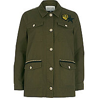 Khaki green badge army jacket