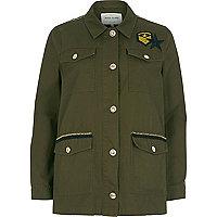 Veste militaire vert kaki à écusson