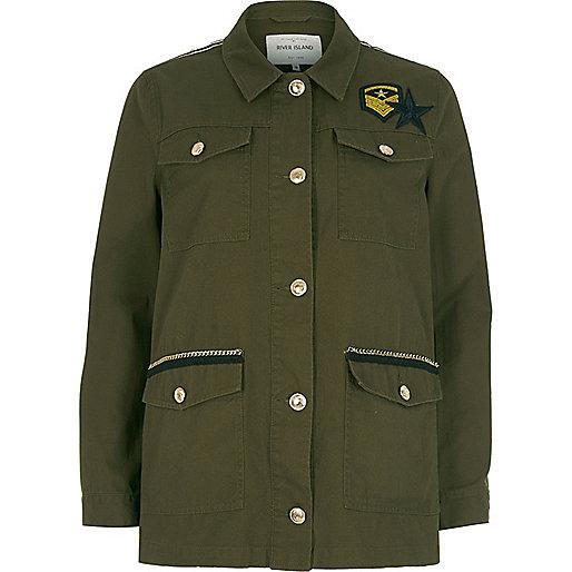 Khaki green badge army jacket