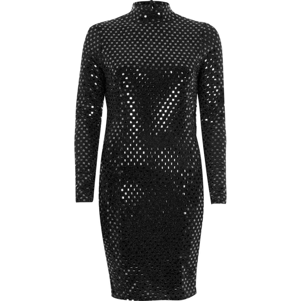 Metallic black turtleneck mini dress