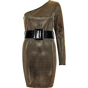 Robe moulante dorée asymétrique à ceinture