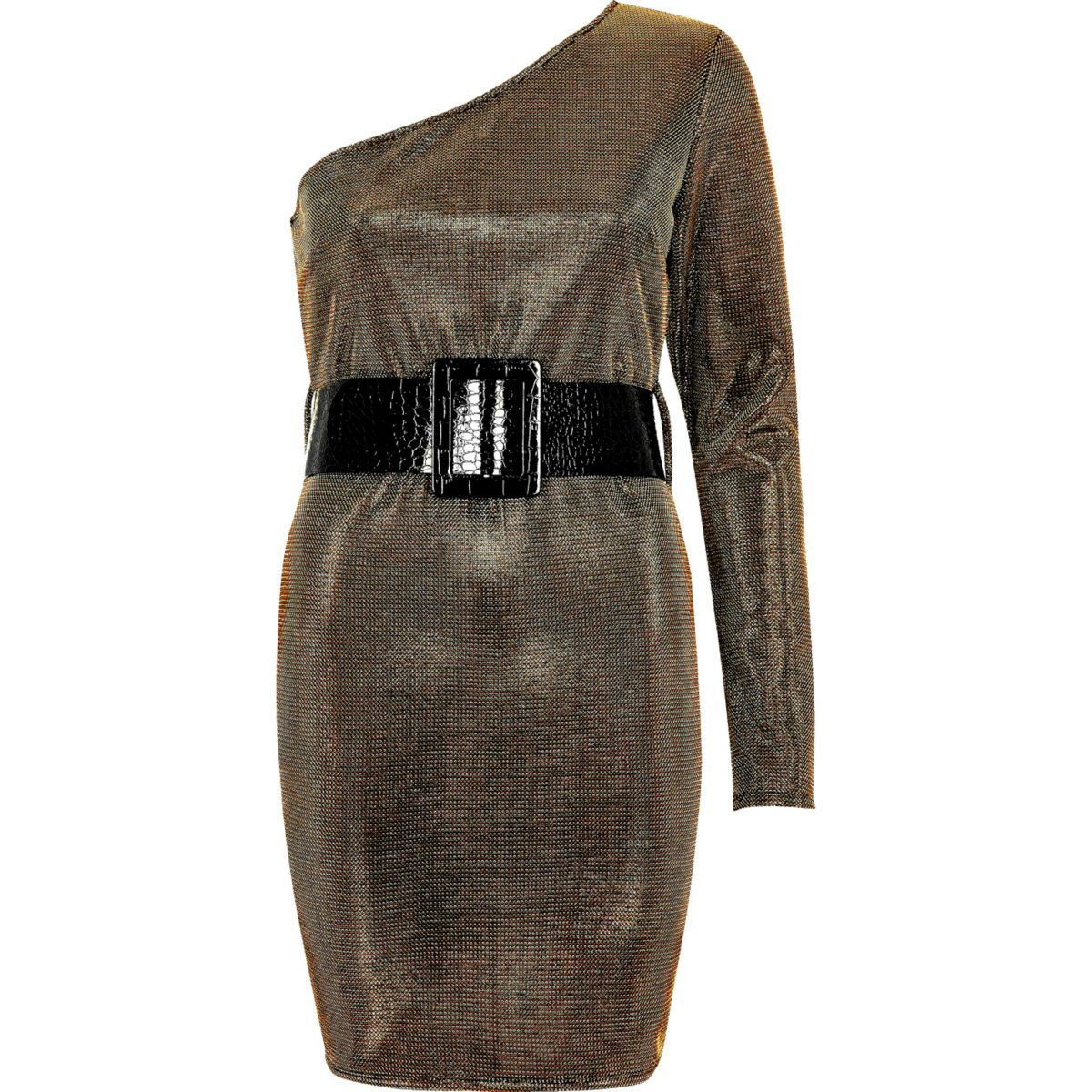 Gold one sleeve belted bodycon dress