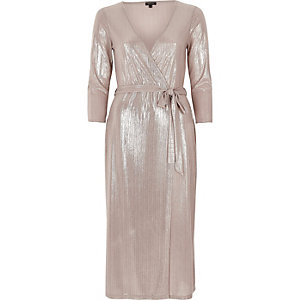 Metallic pink plunge wrap dress