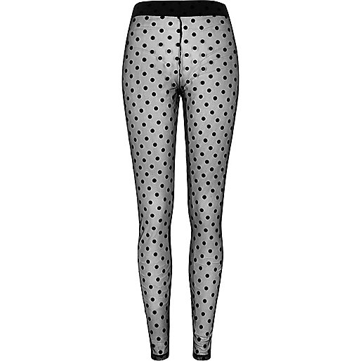 Black polka dot lace leggings