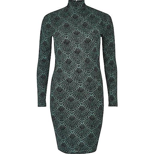Mini robe verte à col roulé brillant