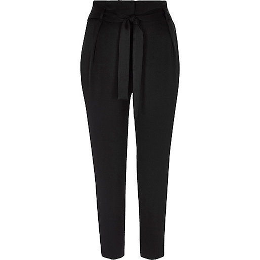 Black soft satin tie waist tapered trousers