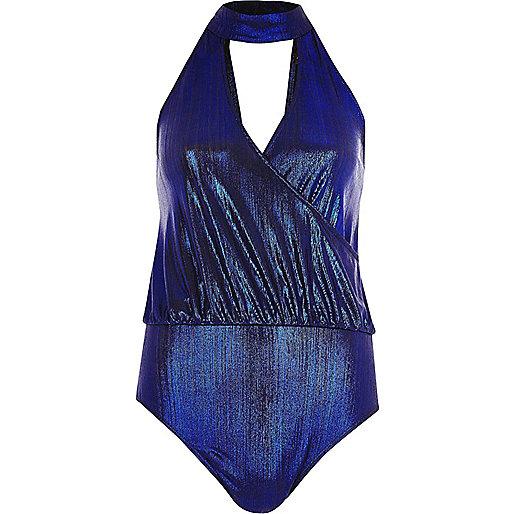 Metallic blue choker plunge bodysuit