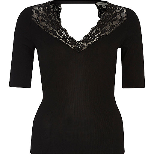 Black lace trim top
