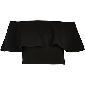Black frill bardot crop top
