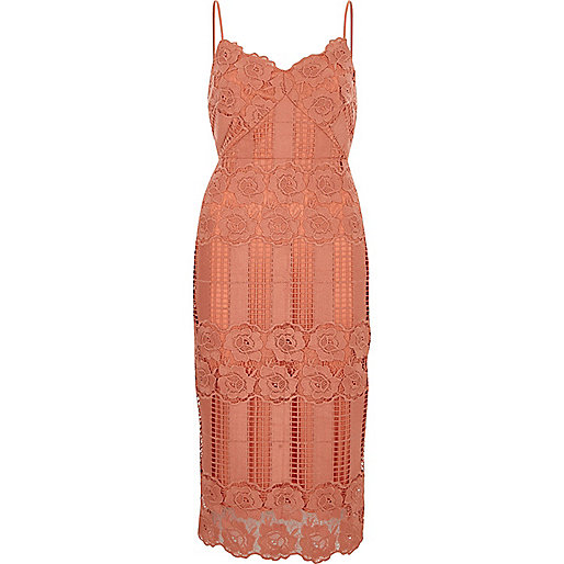 Peach pink lace bodycon dress