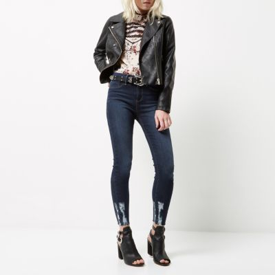 RI Petite Molly Dark wash ripped jegging