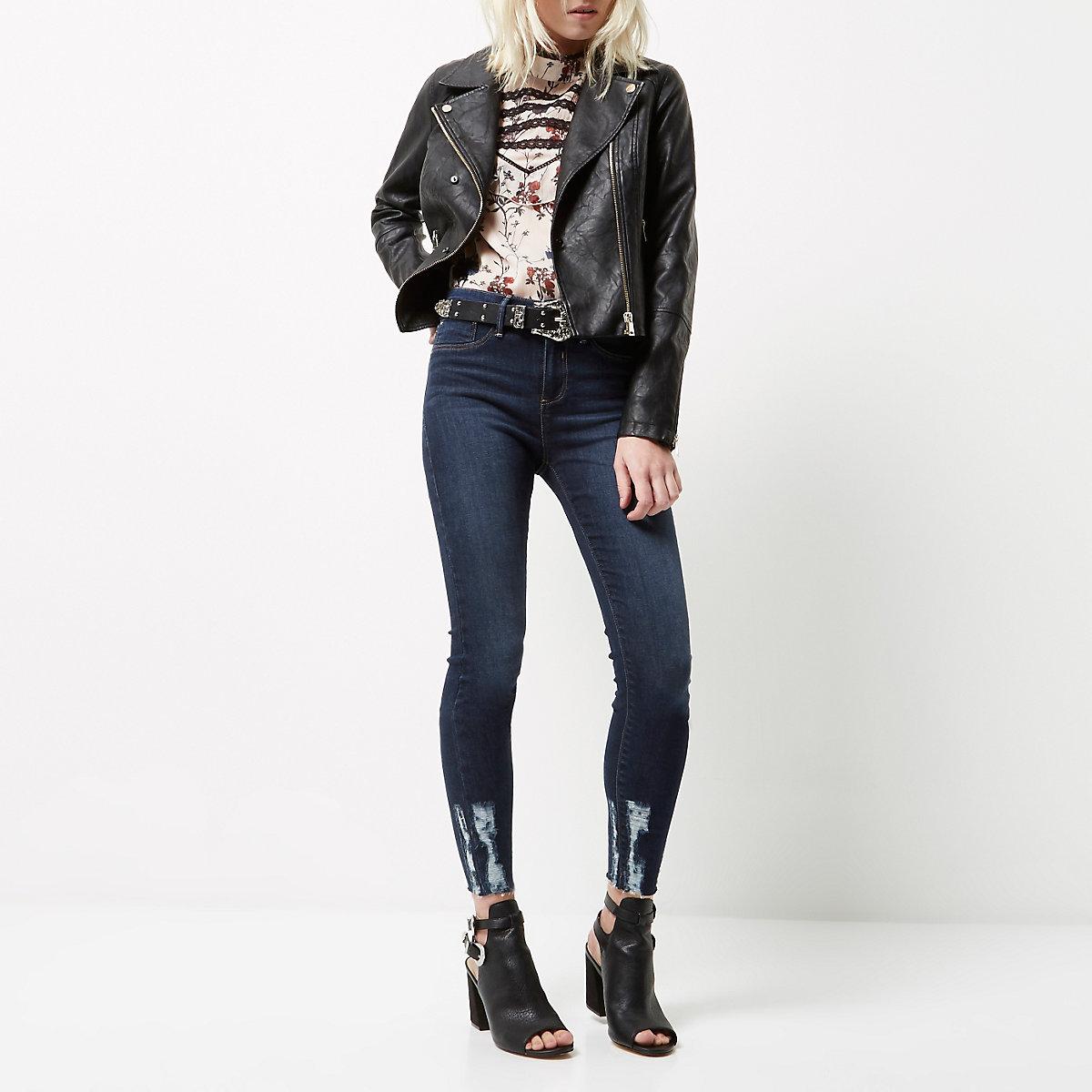 d60565532aeb85 Petite dark wash ripped hem Molly jeggings - Skinny Jeans - Jeans - women