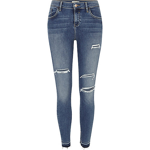 Mid blue ripped Amelie super skinny jeans - Jeans - Sale - women