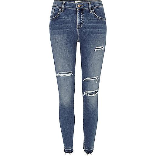 Amelie – Superskinny Jeans in Mittelblau im Used-Look