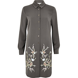 Charcoal grey embroidered longline shirt