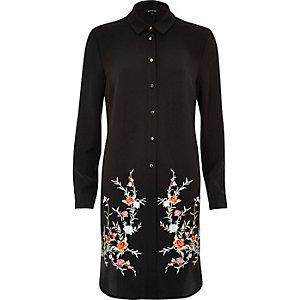 Zwart geborduurd lang overhemd