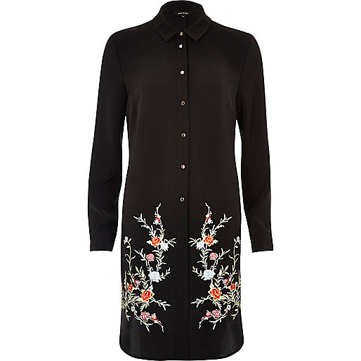 Black embroidered longline shirt